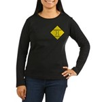 Dangerous Curves Sign Women's Long Sleeve Bown T-S