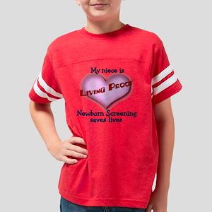 3-Living Proof niece blue 4-3 Youth Football Shirt