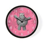 New Pink Hippo Clock