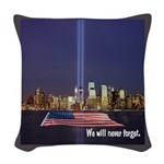 9-11 We Will Never Forget Woven Throw Pillow