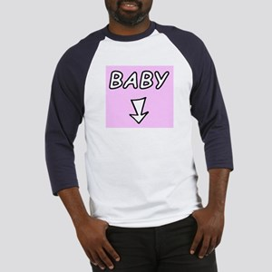 Baby and arrow - on pink Baseball Jersey