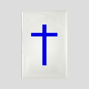 Blue Cross Rectangle Magnet