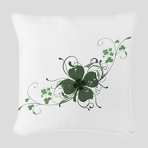 Elegant Shamrock Design Woven Throw Pillow