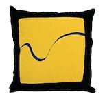 Blue Ribbon on Yellow Throw Pillow