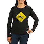 Deer Crossing Sign Womens Lng Sleeve Black T-Shirt