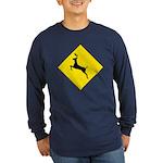 Deer Crossing Sign Long Sleeve Blue T-Shirt