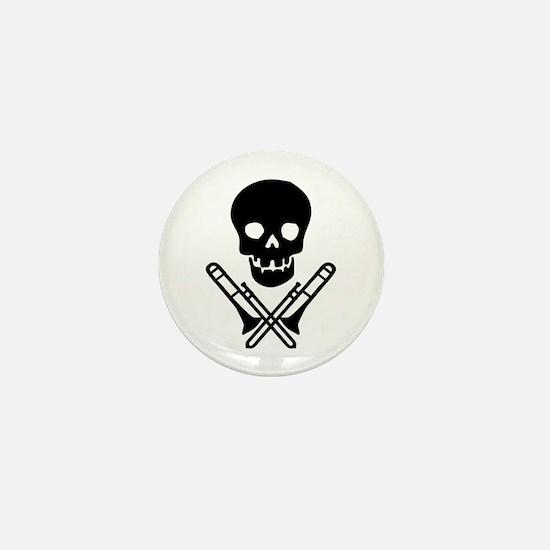 skull & trombones mini button