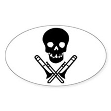 skull & trombones Oval Sticker