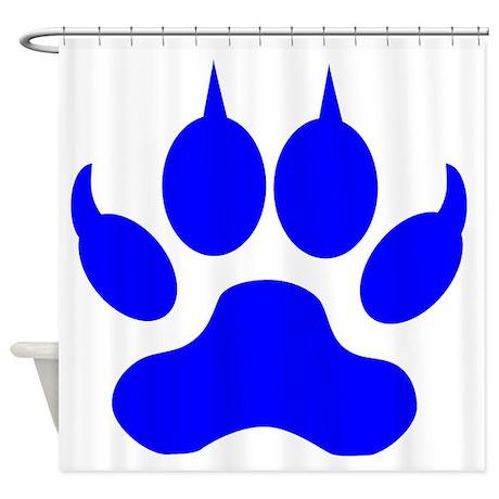 Blue Wolf Paw Print Shower Curtain By AnimalsandWildlifeGifts