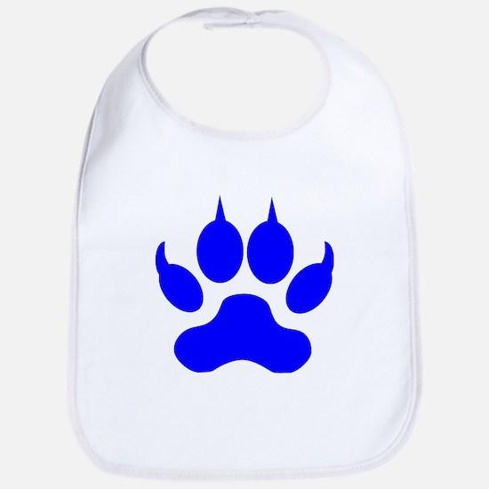 Blue Wolf Paw Print Bib