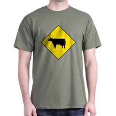 Cattle Crossing Sign Green T-Shirt