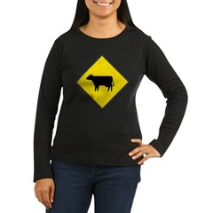 Cattle Crossing Sign Womens Long Slv Brown T-Shirt
