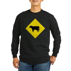 Cattle Crossing Sign Long Sleeve Black T-Shirt