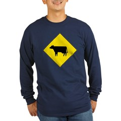 Cattle Crossing Sign Long Sleeve Blue T-Shirt