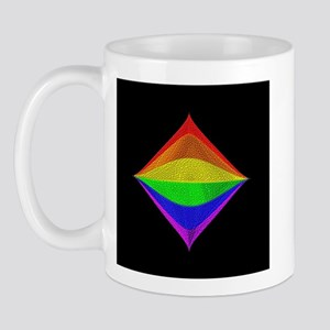 RAINBOW TILTED SQUARE ON BLK Mug
