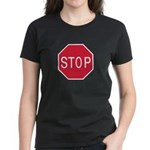 Stop Sign Women's Black T-Shirt