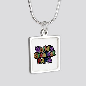World's Greatest Papa Silver Square Necklace