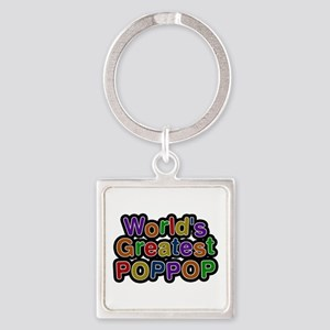 World's Greatest Poppop Square Keychain