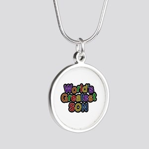 World's Greatest Son Silver Round Necklace