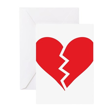 Red Broken Heart Greeting Cards (Pk of 10)
