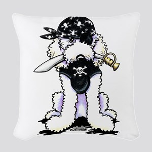 Poodle Pirate Woven Throw Pillow