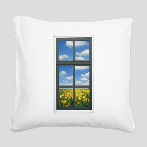 Holland Spring Tulips Window Square Canvas Pillow
