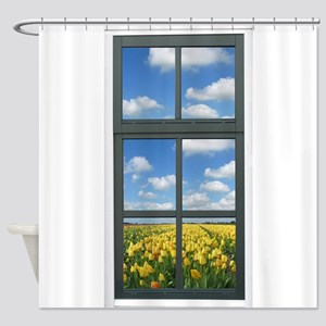 Holland Tulips Faux Window View Shower Curtain