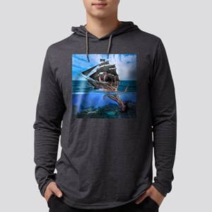 Pirates vs The Giant Squid Mens Hooded Shirt