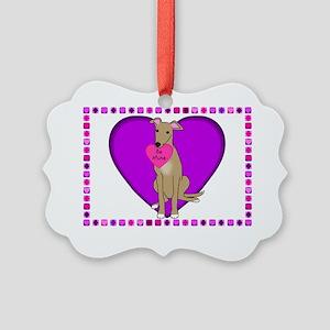 valentine_greyhound_card Picture Ornament