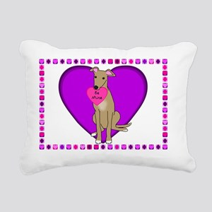 valentine_greyhound_card Rectangular Canvas Pillow
