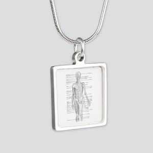 Human Anatomy Chart Silver Square Necklace