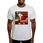 'Santa knelt' on a T-Shirt { Ash Grey}