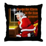 'Santa knelt' Throw Pillow
