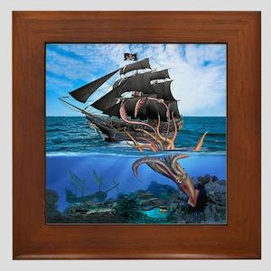 Pirates vs The Giant Squid Framed Tile