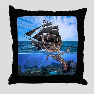 Pirates vs The Giant Squid Throw Pillow