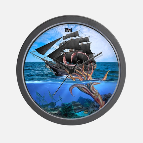 Pirates vs The Giant Squid Wall Clock