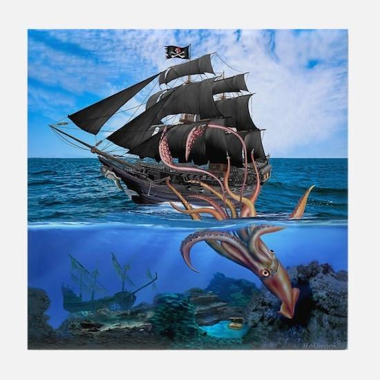 Pirates vs The Giant Squid Tile Coaster