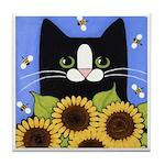 Tuxedo CAT, Sunflowers and Bees ART Tile