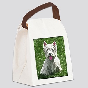 westie_painting_mousepad Canvas Lunch Bag