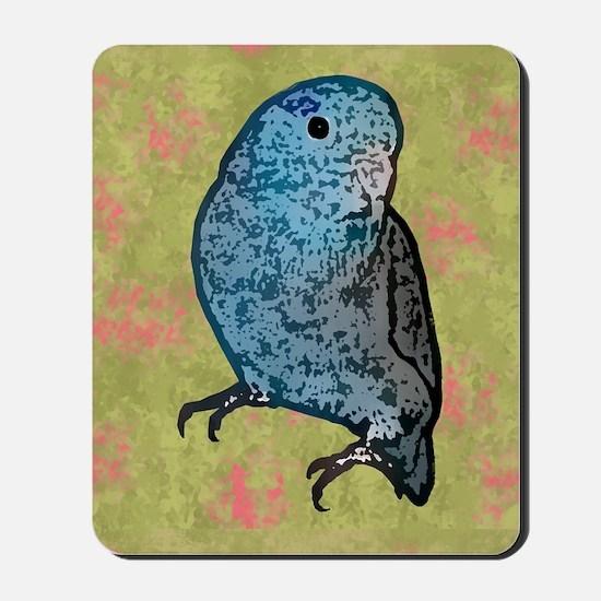 parrotletblue card Mousepad