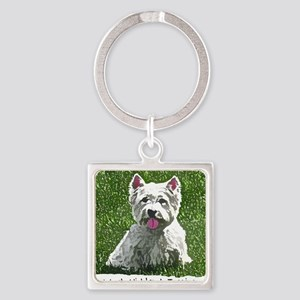westie_painting Square Keychain