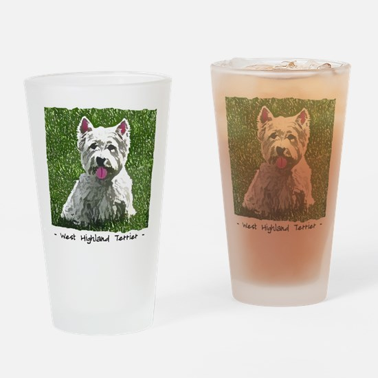 westie_painting Drinking Glass