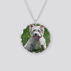 westie_painting Necklace Circle Charm