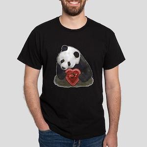 Panda Bear Red Heart Dark T-Shirt