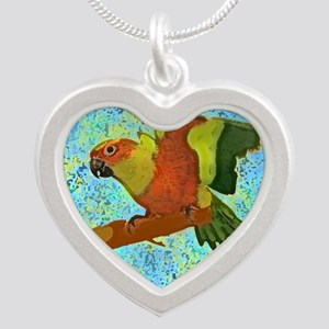 sunconure_tile Silver Heart Necklace