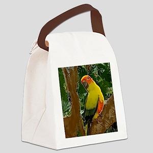 sunconure_forest_button Canvas Lunch Bag