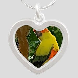 sunconure_forest_button Silver Heart Necklace