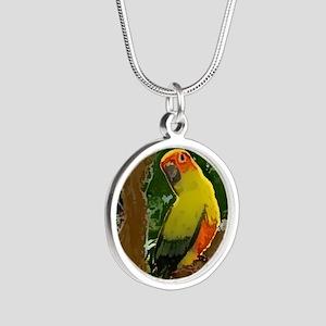 sunconure_forest_button Silver Round Necklace