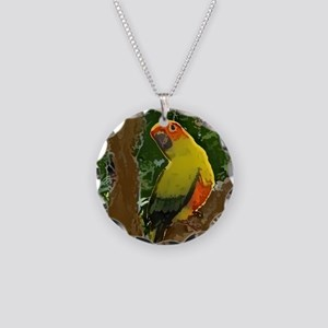 sunconure_forest_button Necklace Circle Charm