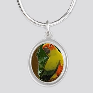 sunconure_forest_button Silver Oval Necklace